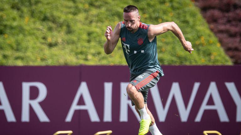Franck Ribery at Bayern Munich training in Doha, Qatar