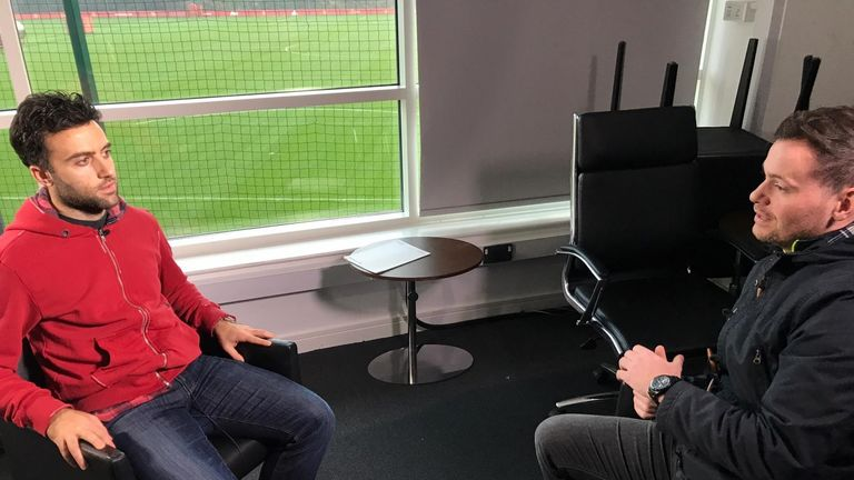 Giuseppe Rossi speaks to Sky Sports reporter Paul Gilmour at Manchester United's Carrington training ground