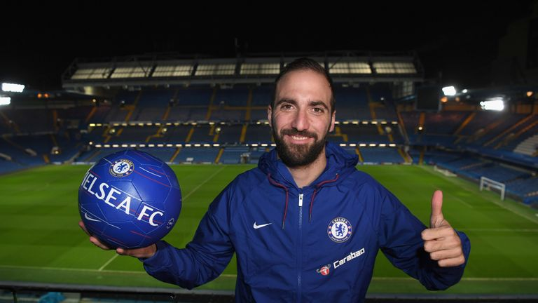 Gonzalo Higuain of Chelsea signs for Chelsea at Stamford Bridge on January 23, 2019 in London, England