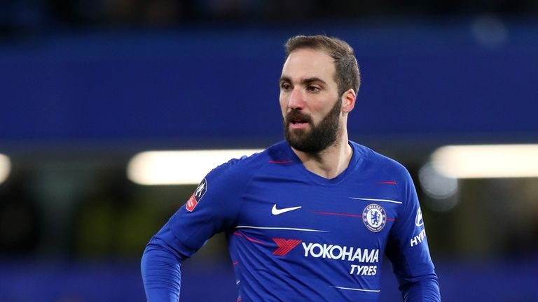 Gonzalo Higuain in action for Chelsea against Sheffield Wednesday
