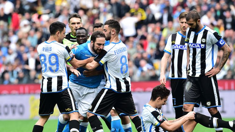 Higuain was handed an extended ban for his reaction to a red card against Udinese in April 2016