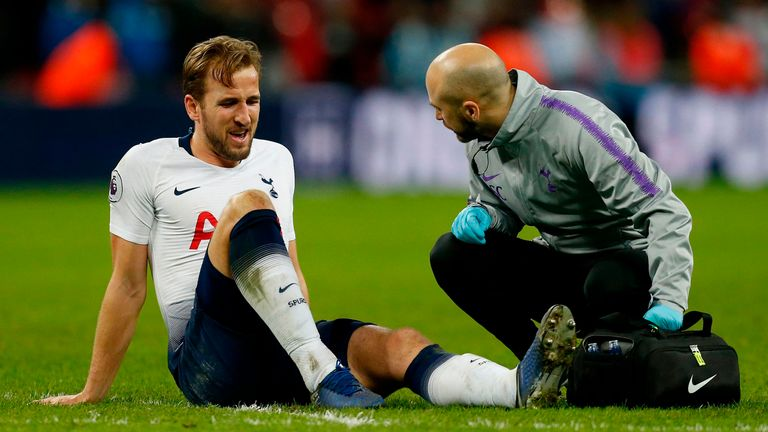Kane was injured during Tottenham's game against Manchester United at Wembley on January 13