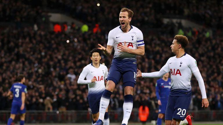 Harry Kane celebrates his penalty opener for Tottenham