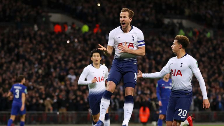 Harry Kane during the Carabao Cup Semi-Final First Leg match between Tottenham Hotspur and Chelsea at Wembley Stadium on January 8, 2019 in London, England