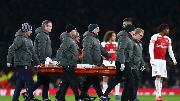 Hector Bellerin stretchered off during Arsenal v Chelsea at Emirates Stadium on January 19, 2019 in London, United Kingdom.