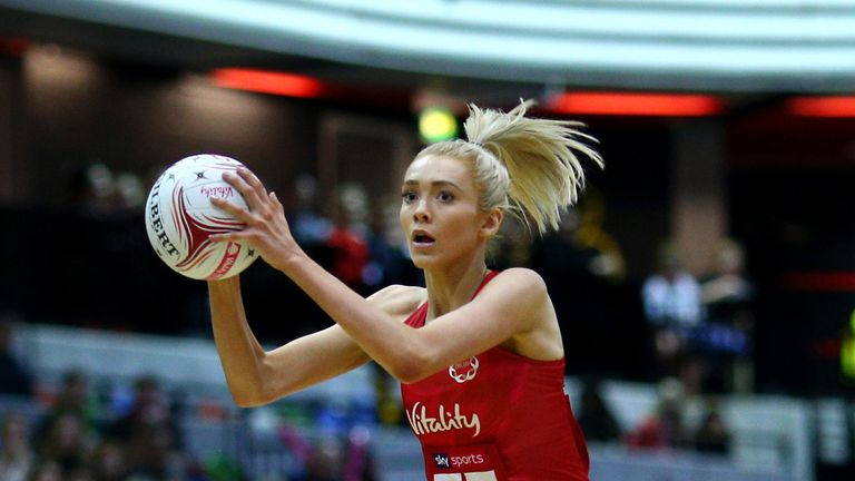 Housby in action for England during the Vitality Netball Quad Series 2019