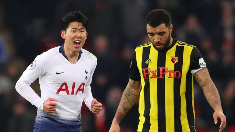 Heung-Min Son celebrates his equaliser
