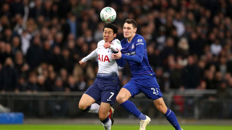 Heung-Min Son of Tottenham Hotspur battles for possession with Andreas Christiansen of Chelsea during the Carabao Cup Semi-Final First Leg match between Tottenham Hotspur and Chelsea at Wembley Stadium on January 8, 2019 in London, England