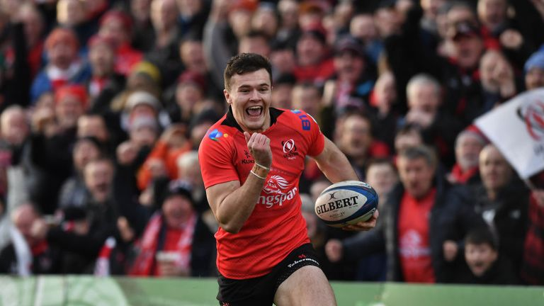 Jacob Stockdale scored two tries for Ulster in their win over Racing 92