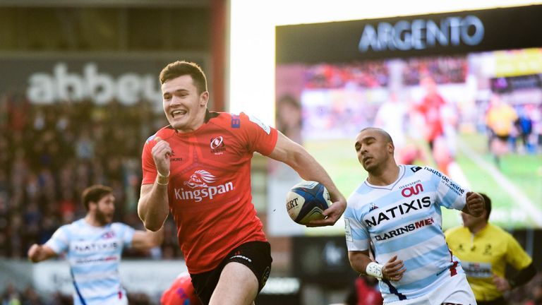 Jacob Stockdale goes over for his first try as Simon Zebo watches on