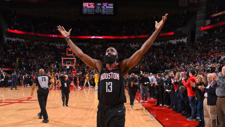 James Harden #13 of the Houston Rockets celebrates after the game against the Los Angeles Lakers on January 19, 2019 at the Toyota Center in Houston, Texas.