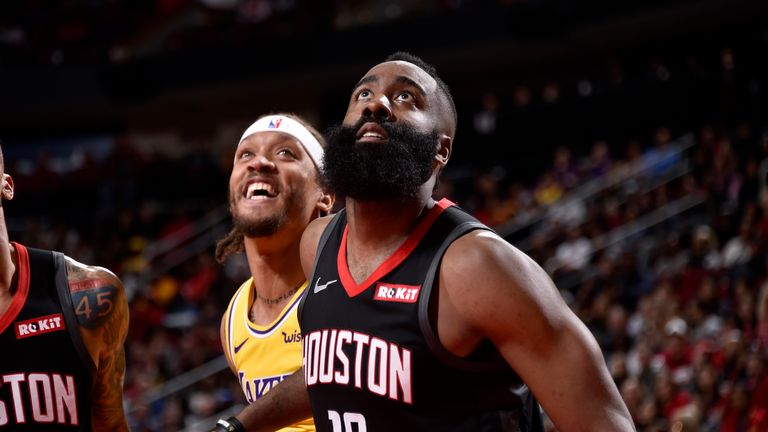HOUSTON, TX - JANUARY 19: James Harden #13 of the Houston Rockets waits for a rebound against the Los Angeles Lakers on January 19, 2019 at the Toyota Center in Houston, Texas. NOTE TO USER: User expressly acknowledges and agrees that, by downloading and/or using this photograph, user is consenting to the terms and conditions of the Getty Images License Agreement. Mandatory Copyright Notice: Copyright 2019 NBAE (Photo by Bill Baptist/NBAE via Getty Images)