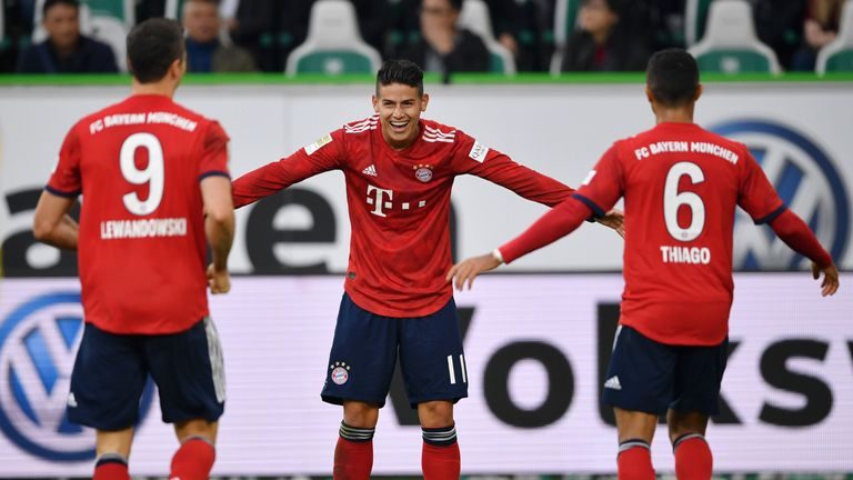James celebrates scoring for Bayern against Wolfsburg