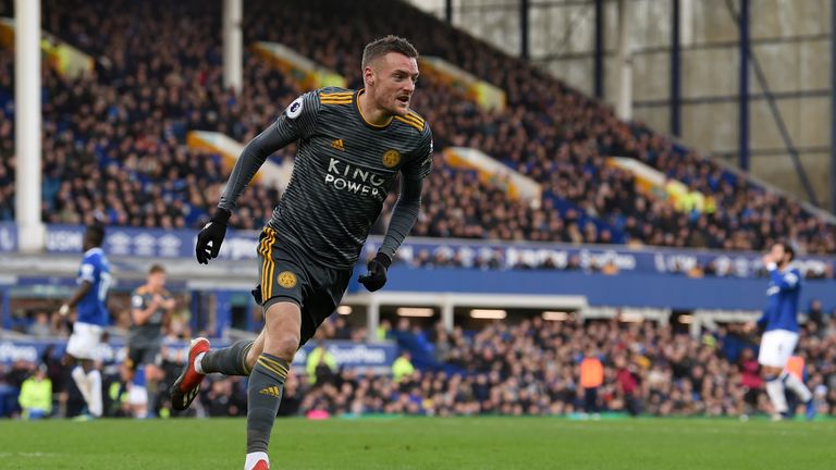 Jamie Vardy celebrates scoring the only goal of the game
