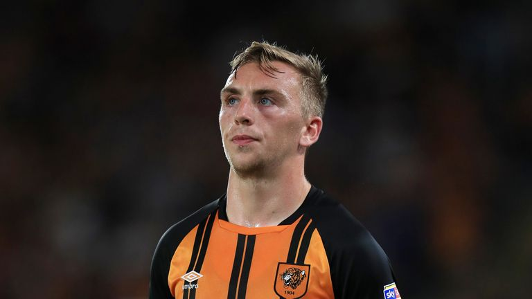 """Hull City's Jarrod Bowen during the Sky Bet Championship match at the KCOM Stadium, Hull. PRESS ASSOCIATION Photo. Picture date: Monday August 6, 2018. See PA story SOCCER Hull. Photo credit should read: Mike Egerton/PA Wire. RESTRICTIONS: EDITORIAL USE ONLY No use with unauthorised audio, video, data, fixture lists, club/league logos or """"live"""" services. Online in-match use limited to 75 images, no video emulation. No use in betting, games or single club/league/player publications."""