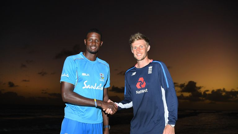 Windies captain Jason Holder and England captain Joe Root ahead of Test series in the Caribbean