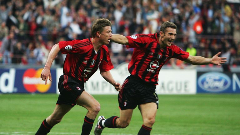 Hasselbaink would have competed with Jon Dahl Tomasson (L) and Andriy Shevchenko (R) if he had joined AC Milan