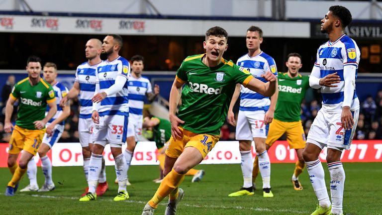 Jordan Storey of Preston North End celebrates scoring their second goal