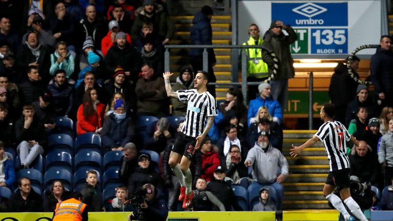 Joselu celebrates his extra-time goal against Blackburn