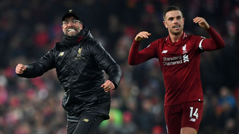 Klopp and Henderson celebrate after Liverpool's 4-3 win over Crystal Palace