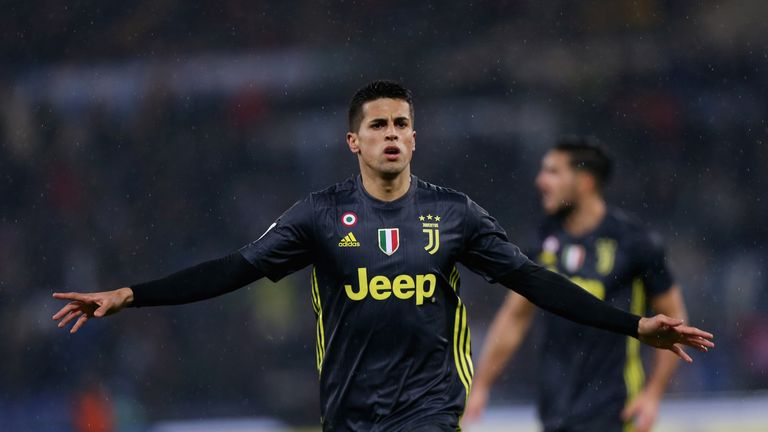 Joao Cancelo celebrates after scoring Juventus' leveller