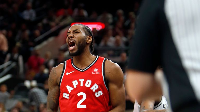 Kawhi Leonard celebrates after he scoring his first points of the night against the San Antonio Spurs