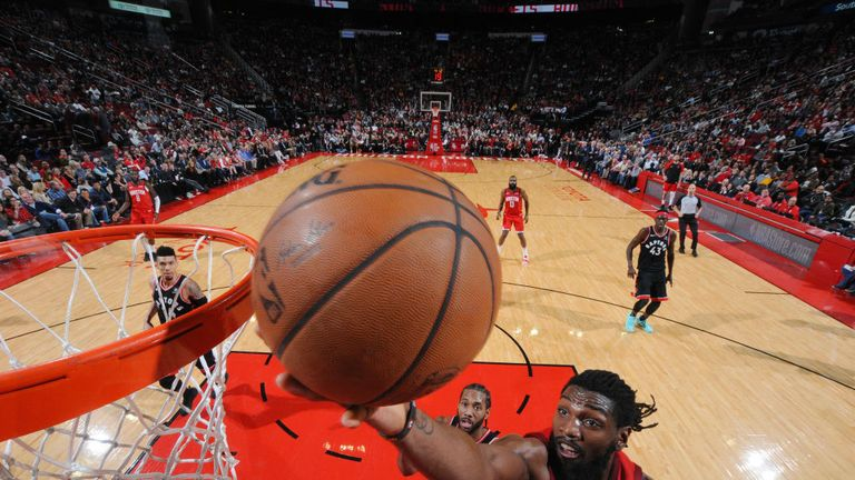 Kenneth Faried #35 of the Houston Rockets drives to the basket during the game against the Toronto Raptors on January 25, 2019 at the Toyota Center in Houston, Texas