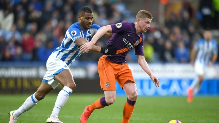 Kevin De Bruyne in action at Huddersfield