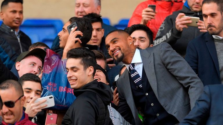Boateng was unveiled at the Nou Camp on Tuesday