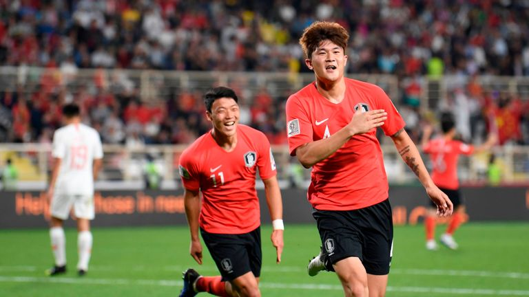 Kim Min-Jae celebrates finding the net for South Korea at the Asian Cup