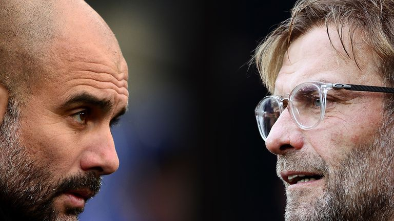 Guardiola, Manager of Manchester City (L) and Liverpool manager Jurgen Klopp. Manchester City and Liverpool FC meet in a Premier League fixture at the Etihad Stadium on January 3, 2019 in Manchester.