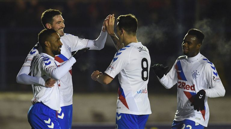 Rangers' Kyle Lafferty (second from left) celebrates his goal to make it 3-0