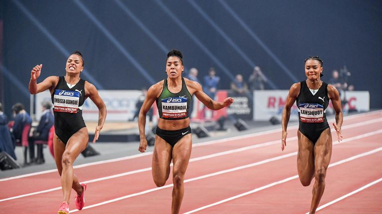 Imani Lansiquot (right) rips up the French track ahead of the outdoor season