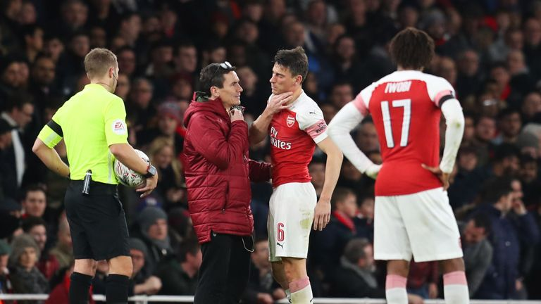 Laurent Koscielny suffered a suspected broken jaw in the 3-1 defeat to Manchester United