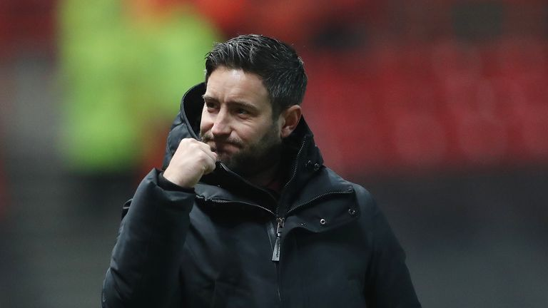 """Bristol City manager Lee Johnson celebrates their victory in the Emirates FA Cup, third round match at Ashton Gate, Bristol. PRESS ASSOCIATION Photo. Picture date: Saturday January 5, 2019. See PA story SOCCER Bristol City. Photo credit should read: David Davies/PA Wire. RESTRICTIONS: EDITORIAL USE ONLY No use with unauthorised audio, video, data, fixture lists, club/league logos or """"live"""" services. Online in-match use limited to 120 images, no video emulation. No use in betting, games or single club/league/player publications."""