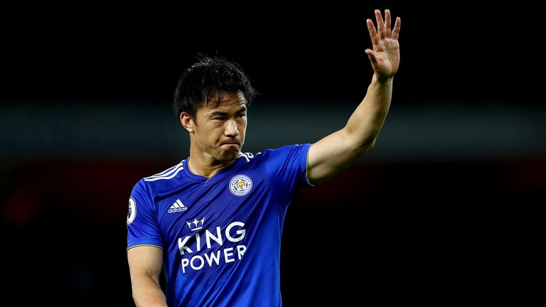 Shinji Okazaki of Leicester City during the Premier League match between Arsenal FC and Leicester City at Emirates Stadium on October 22, 2018 in London, United Kingdom.