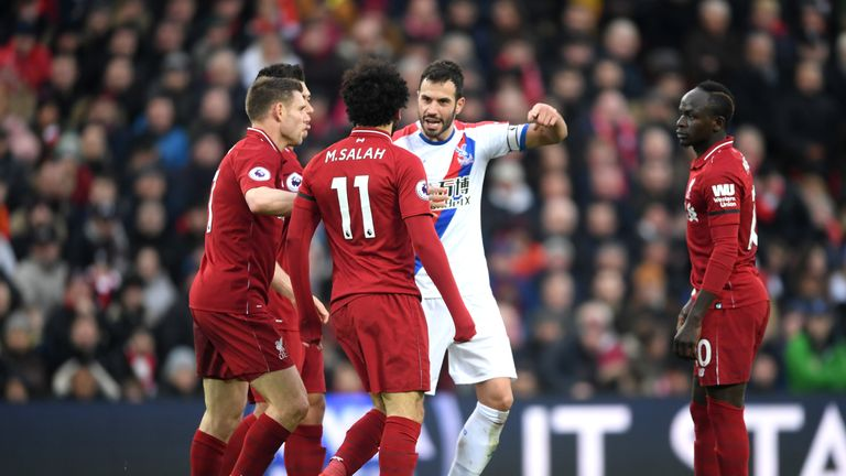 Mohamed Salah during the Premier League match between Liverpool FC and Crystal Palace at Anfield on January 19, 2019 in Liverpool, United Kingdom.