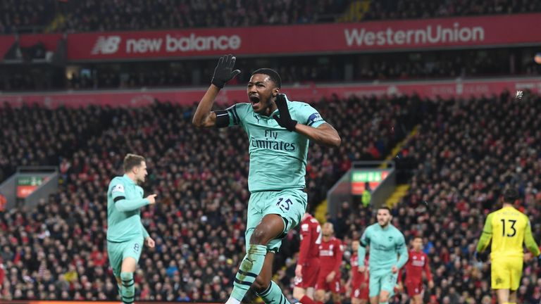 Maitland-Niles scored his first goal for Arsenal in the club's 5-1 defeat to Liverpool in December