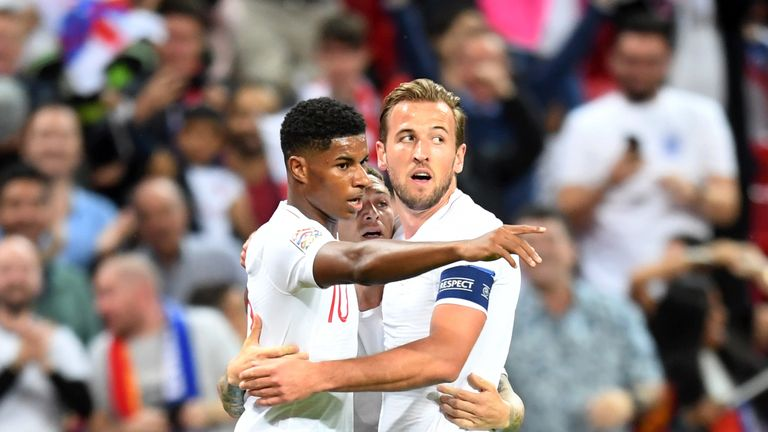 Marcus Rashford and Harry Kane during the UEFA Nations League A group four match between England and Spain at Wembley Stadium on September 8, 2018 in London, United Kingdom.