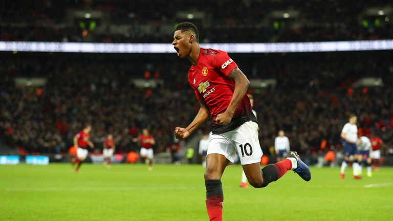 Marcus Rashford put United ahead just before half-time at Wembley