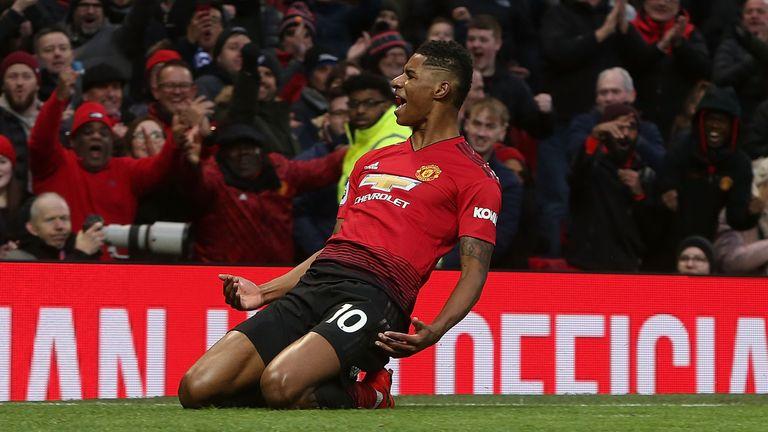Marcus Rashford celebrates doubling Manchester United's lead