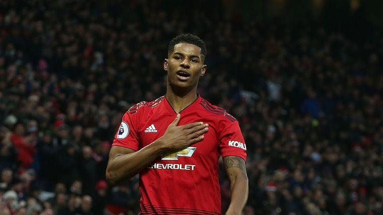 Marcus Rashford celebrates after scoring Manchester United's second