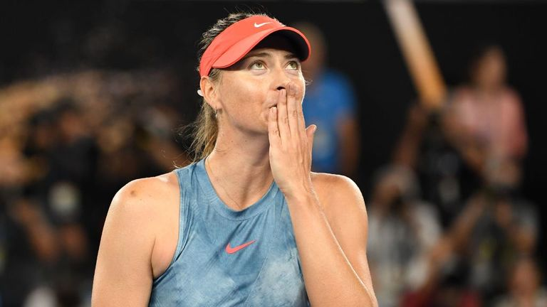 Maria Sharapova of Russia celebrates winning match point in her third round match against Caroline Wozniacki of Denmark during day five of the 2019 Australian Open at Melbourne Park on January 18, 2019 in Melbourne, Australia.