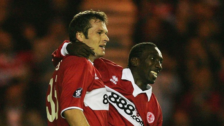 Jimmy Floyd Hasselbaink enjoyed playing with Mark Viduka (L)