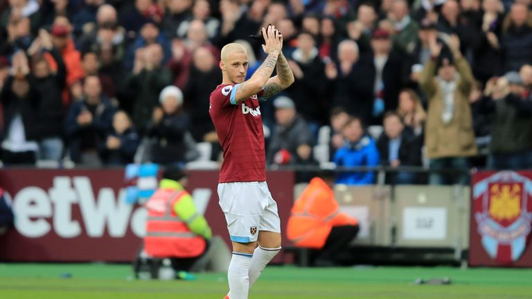 Marko Arnautovic acknowledges the home fans as he walks off the pitch