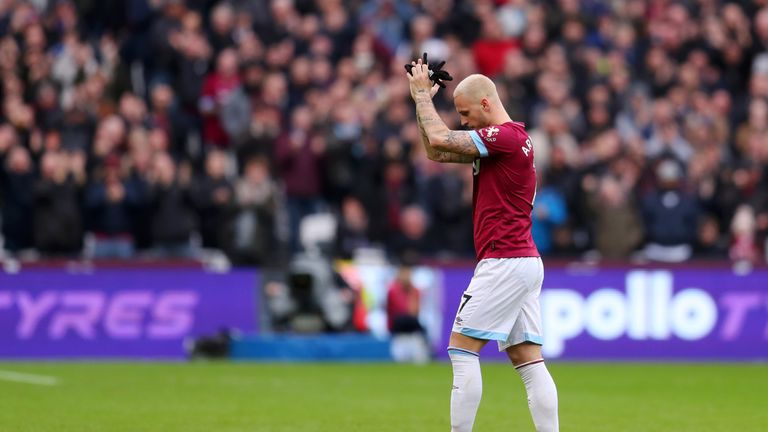 Marko Arnautovic appeared to wave farewell to the West Ham fans when he was substituted in their win over Arsenal