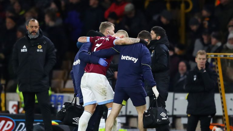 Arnautovic limped out of the Wolves game