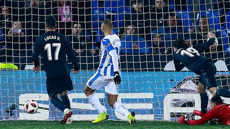 Martin Braithwaite fires Leganes in front in the second leg against Real Madrid