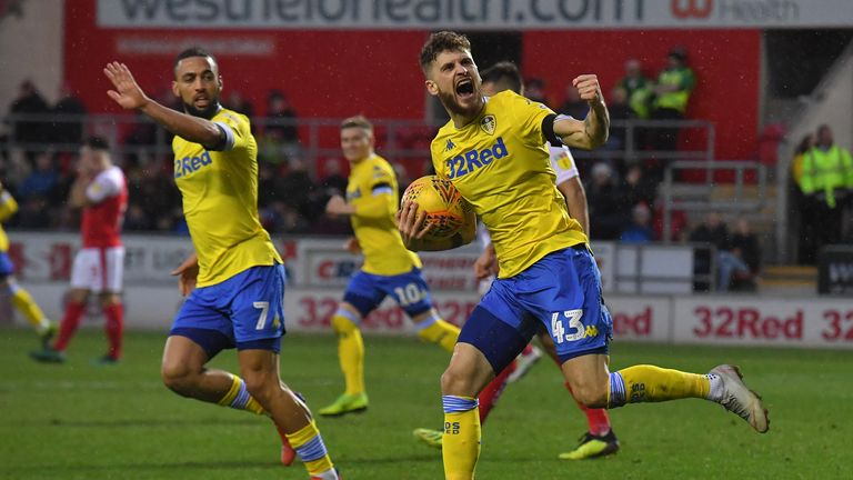 Leeds United's Mateusz Klich celebrates his team's first goal during the Sky Bet Championship match at the AESSEAL New York Stadium, Rotherham. PRESS ASSOCIATION Photo. Picture date: Saturday January 26, 2019