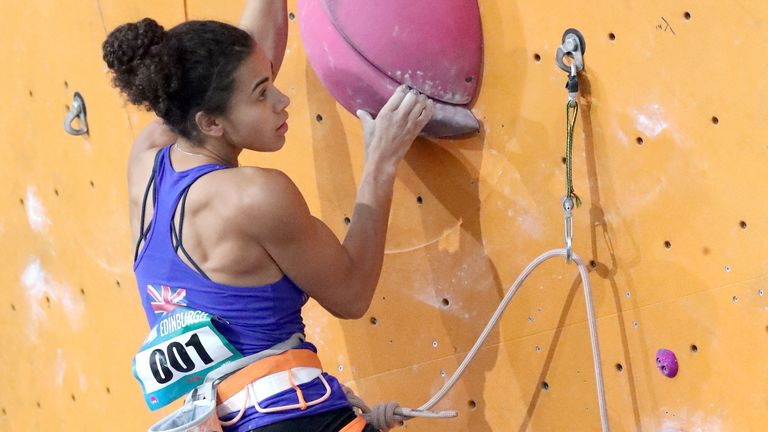 Great Britain's Molly Thompson-Smith climbs in the lead semi-finals during the IFSC Climbing World Cup at the Edinburgh International Climbing Arena, 24 September 2017